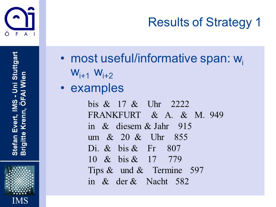 most useful/informative span: wi wi+1 wi+2 examples