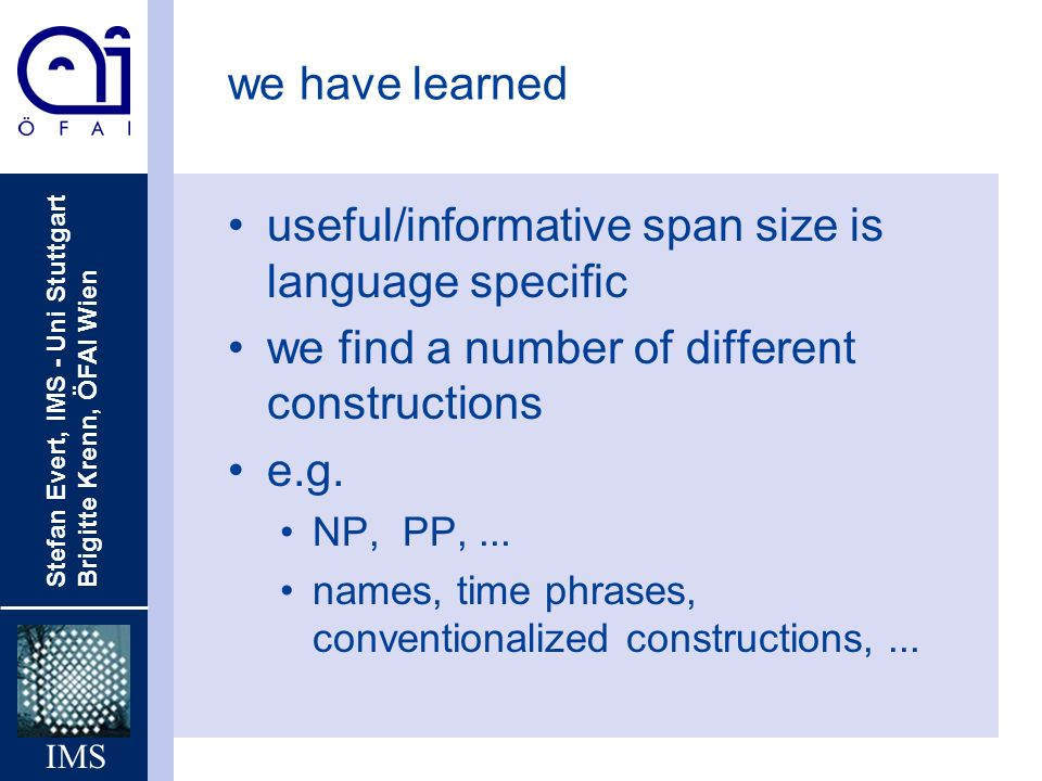 useful/informative span size is language specific