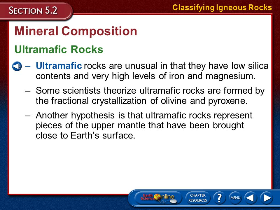 Mineral Composition Ultramafic Rocks