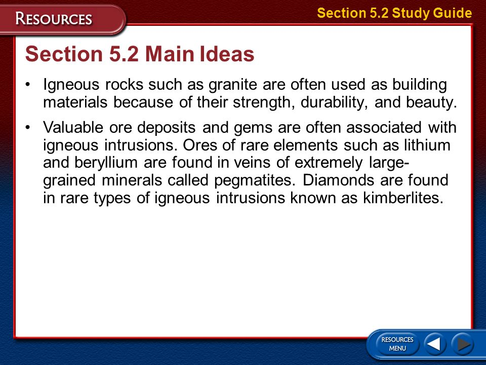 Section 5.2 Study Guide Section 5.2 Main Ideas.