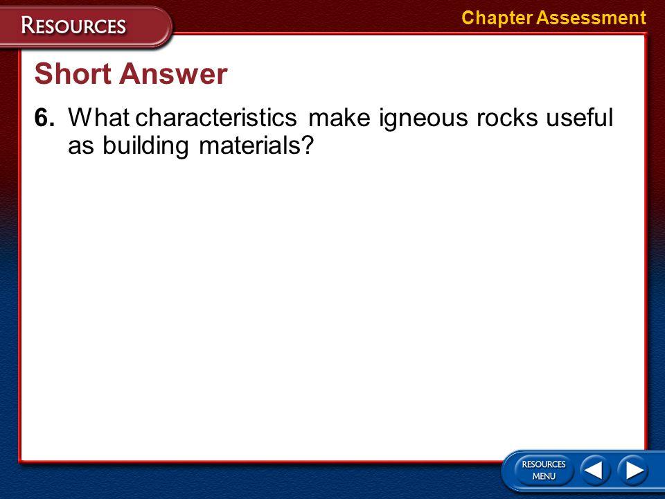 Chapter Assessment Short Answer.