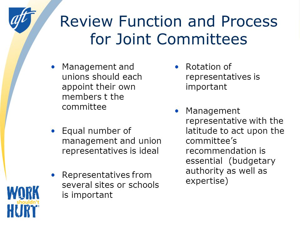 Review Function and Process for Joint Committees