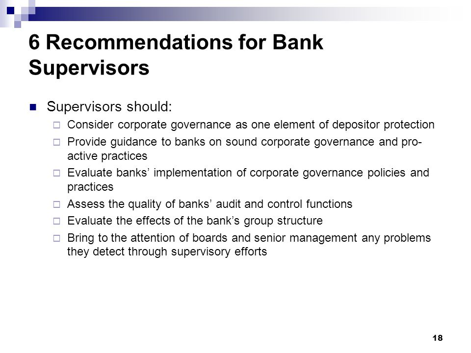 6 Recommendations for Bank Supervisors