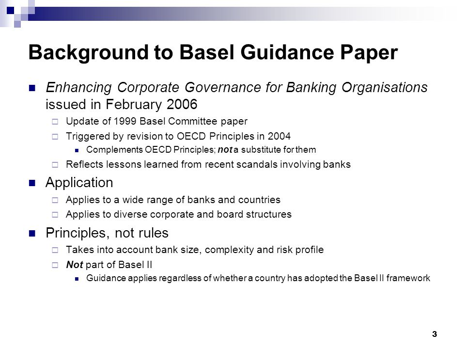 Background to Basel Guidance Paper