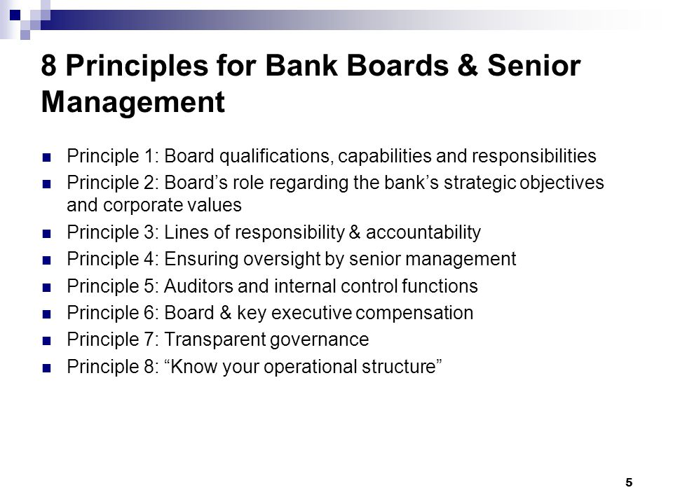 8 Principles for Bank Boards & Senior Management