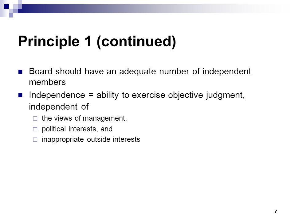 Principle 1 (continued)