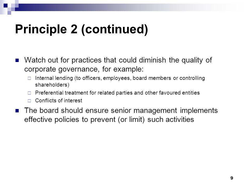 Principle 2 (continued)