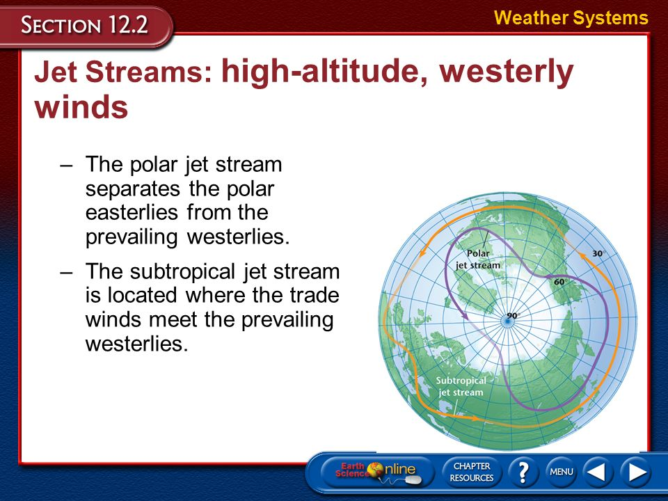 Jet Streams: high-altitude, westerly winds