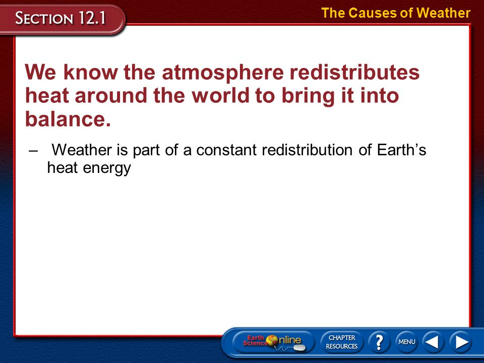 The Causes of WeatherWe know the atmosphere redistributes heat around the world to bring it into balance.
