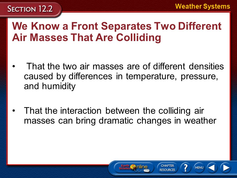 We Know a Front Separates Two Different Air Masses That Are Colliding