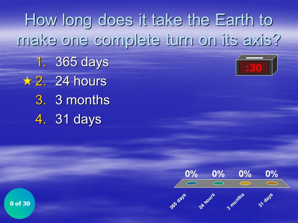 How long does it take the Earth to make one complete turn on its axis
