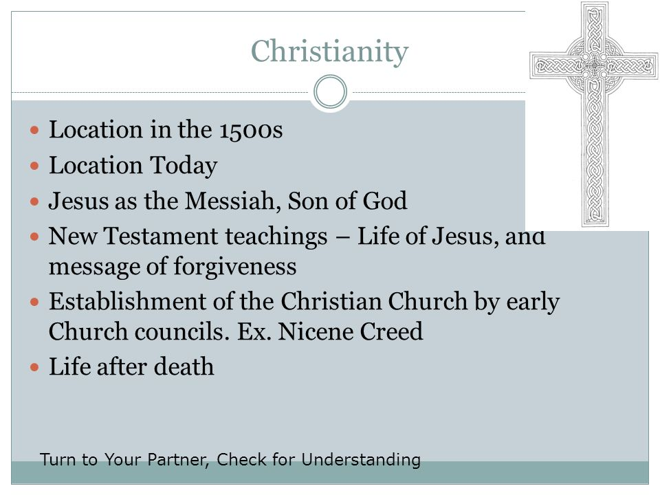 Christianity Location in the 1500s Location Today