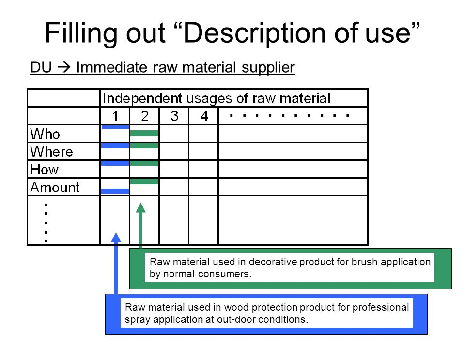 Filling out Description of use