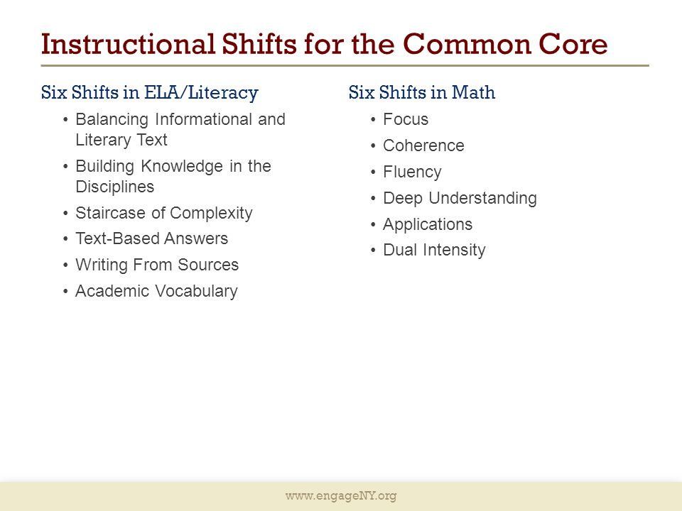 Instructional Shifts for the Common Core