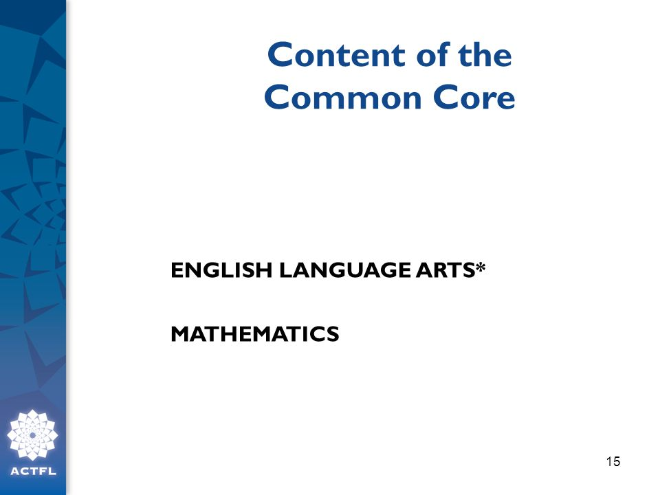 Content of the Common Core