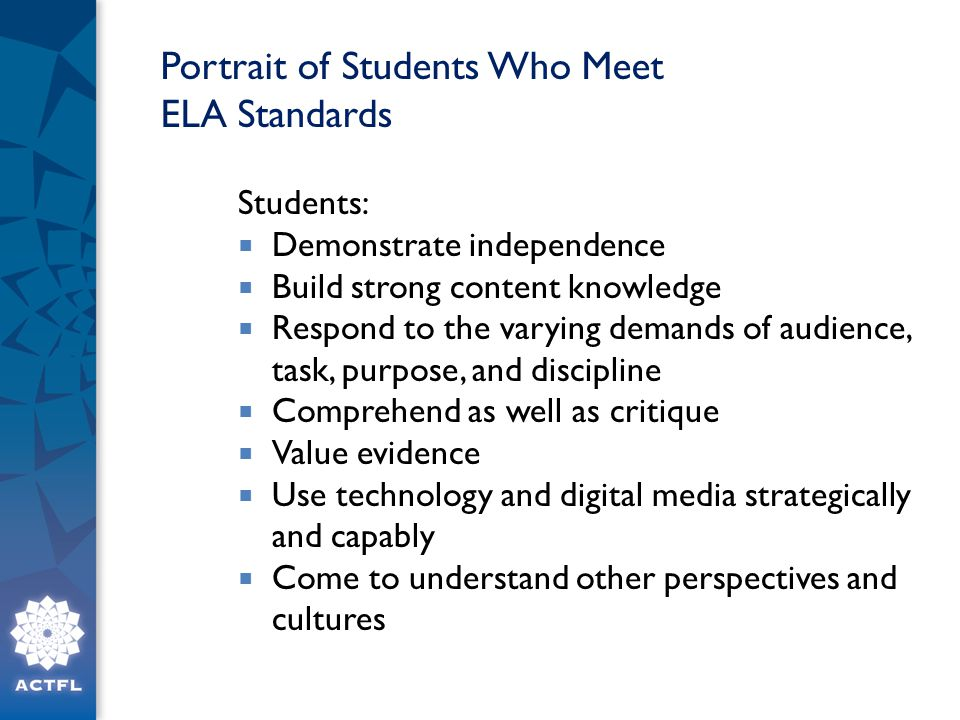 Portrait of Students Who Meet ELA Standards