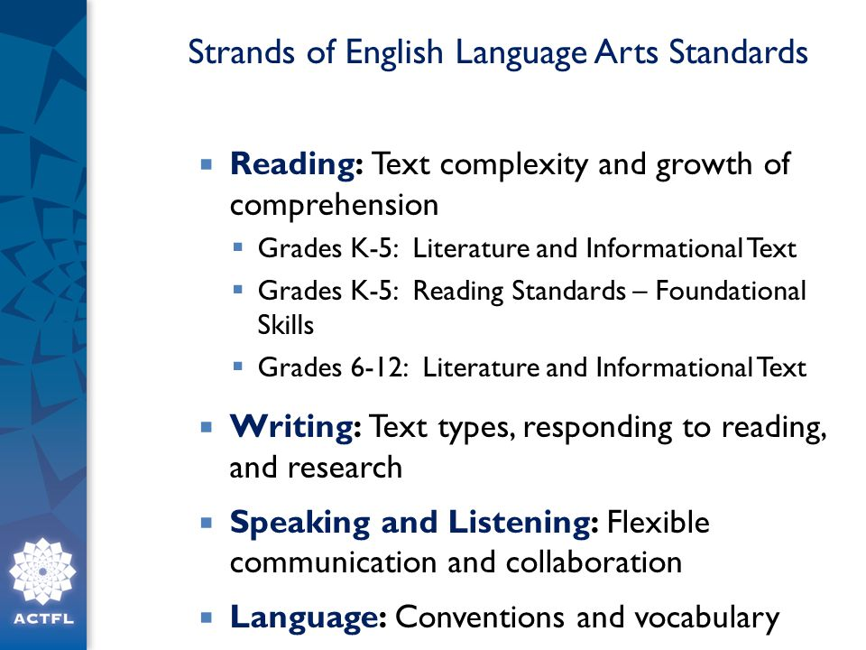 Strands of English Language Arts Standards