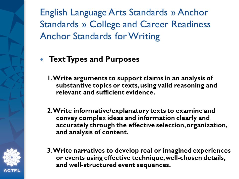 English Language Arts Standards » Anchor Standards » College and Career Readiness Anchor Standards for Writing