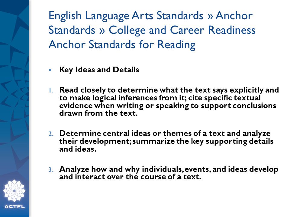 English Language Arts Standards » Anchor Standards » College and Career Readiness Anchor Standards for Reading