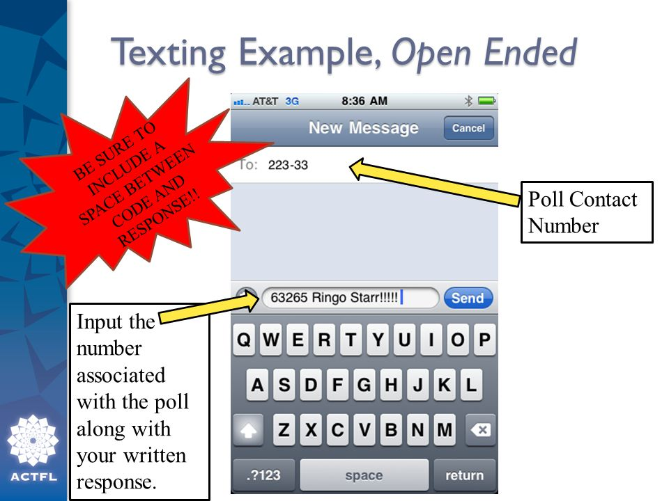 Texting Example, Open Ended