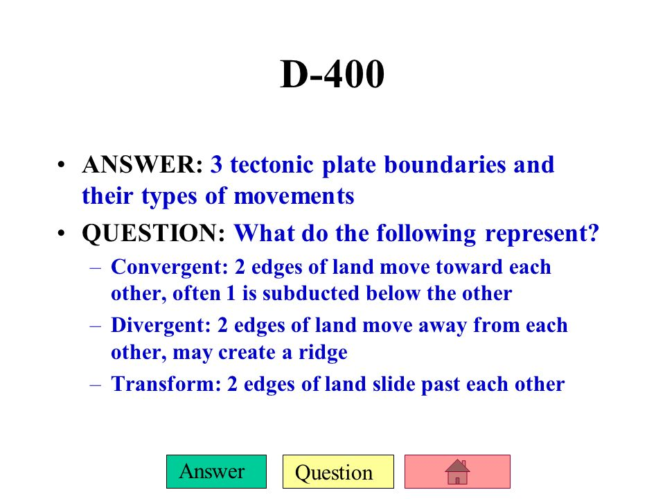D-400 ANSWER: 3 tectonic plate boundaries and their types of movements