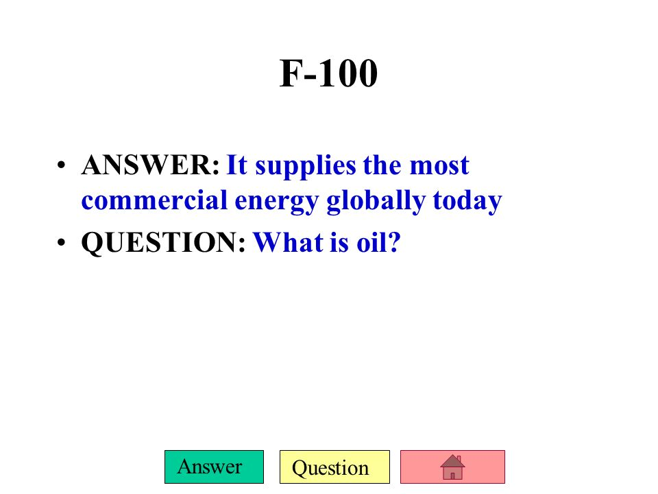 F-100 ANSWER: It supplies the most commercial energy globally today