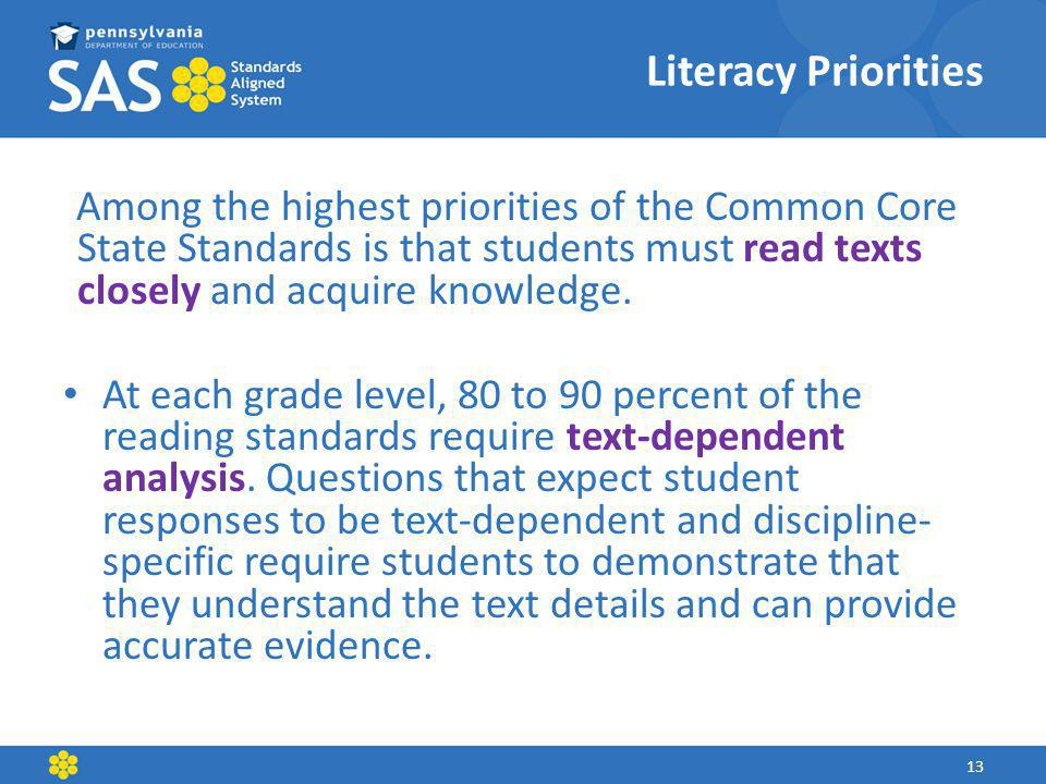 Literacy Priorities Among the highest priorities of the Common Core State Standards is that students must read texts closely and acquire knowledge.