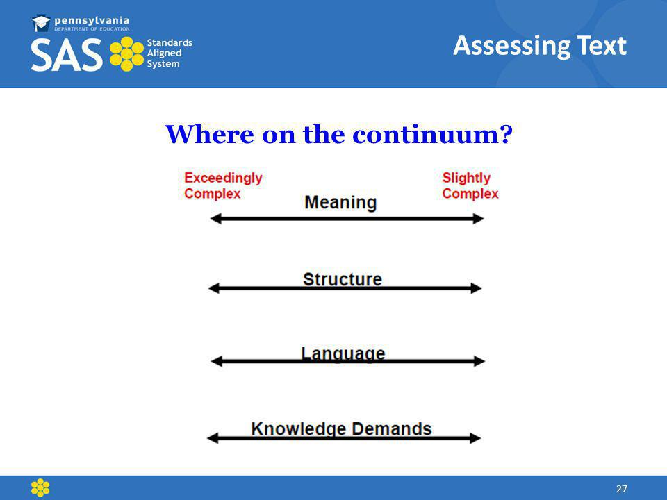 Assessing Text Where on the continuum