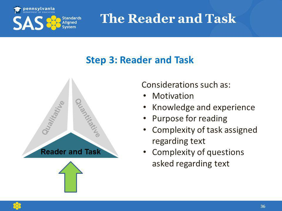 The Reader and Task Step 3: Reader and Task Considerations such as: