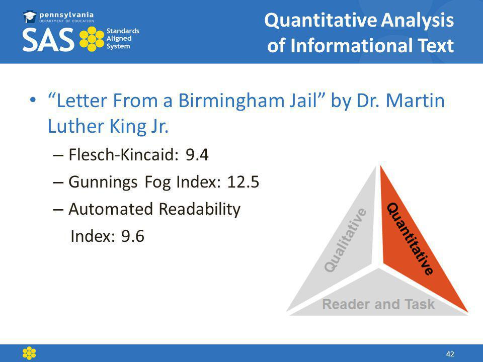 Quantitative Analysis of Informational Text