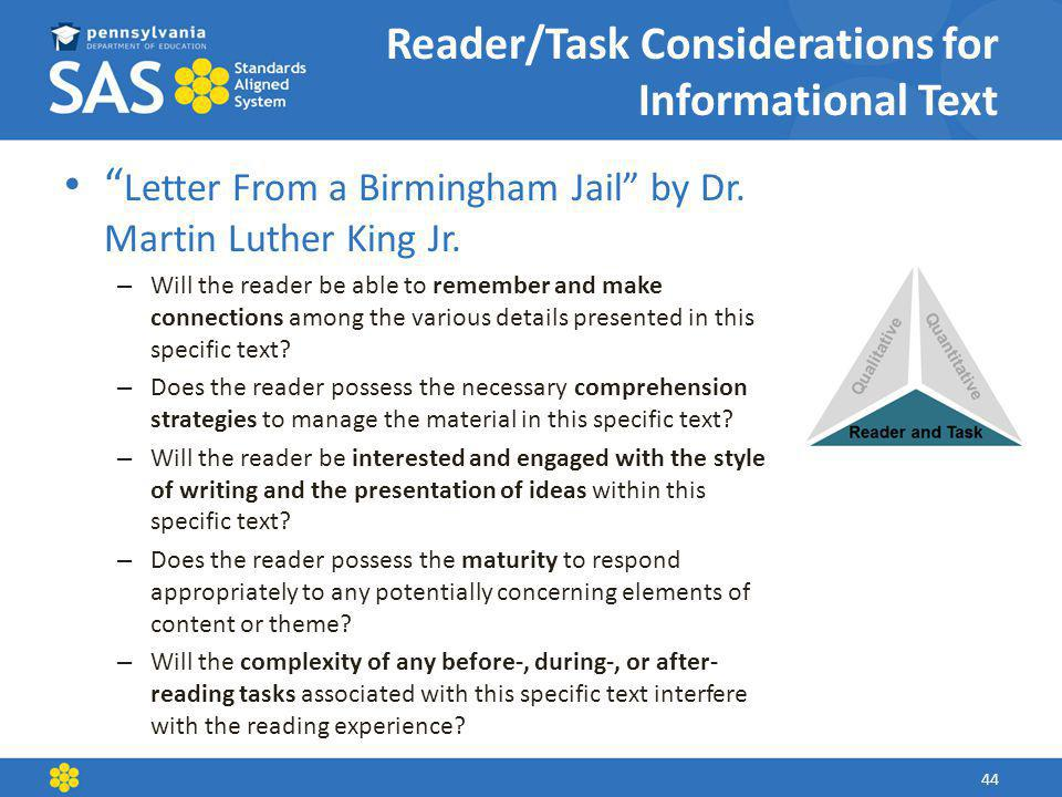 Reader/Task Considerations for Informational Text