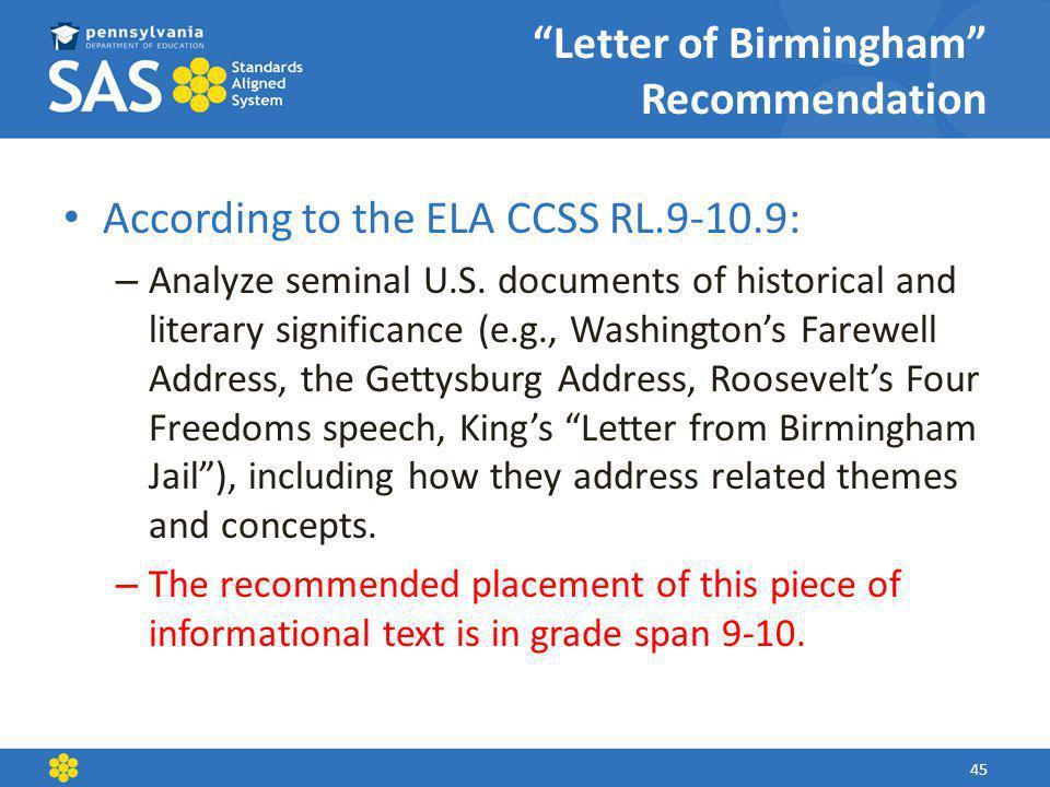 Letter of Birmingham Recommendation