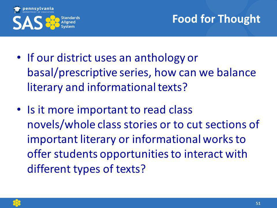 Food for Thought If our district uses an anthology or basal/prescriptive series, how can we balance literary and informational texts