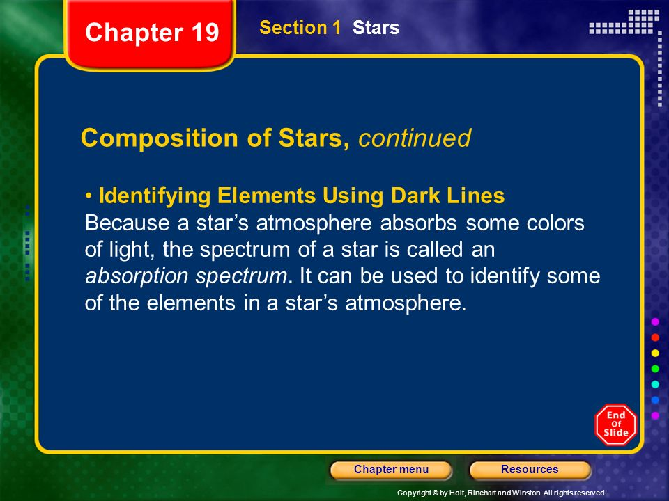 Composition of Stars, continued