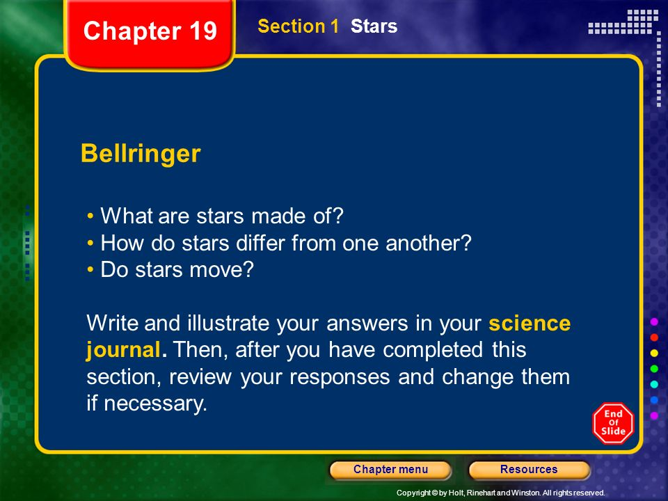 Chapter 19 Bellringer What are stars made of