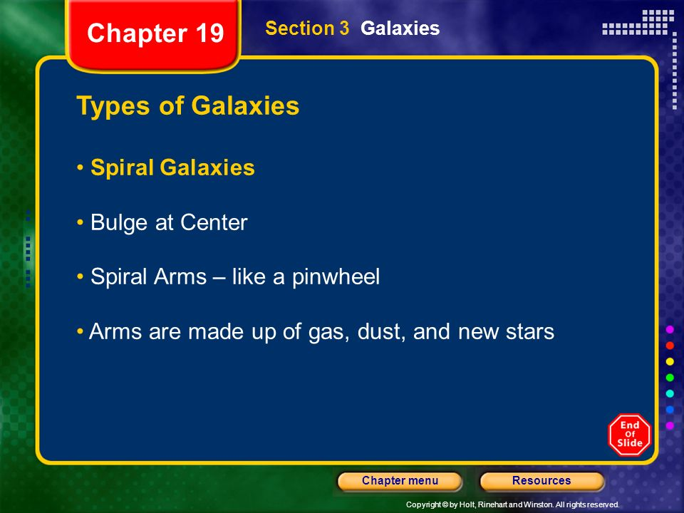 Chapter 19 Types of Galaxies Spiral Galaxies Bulge at Center