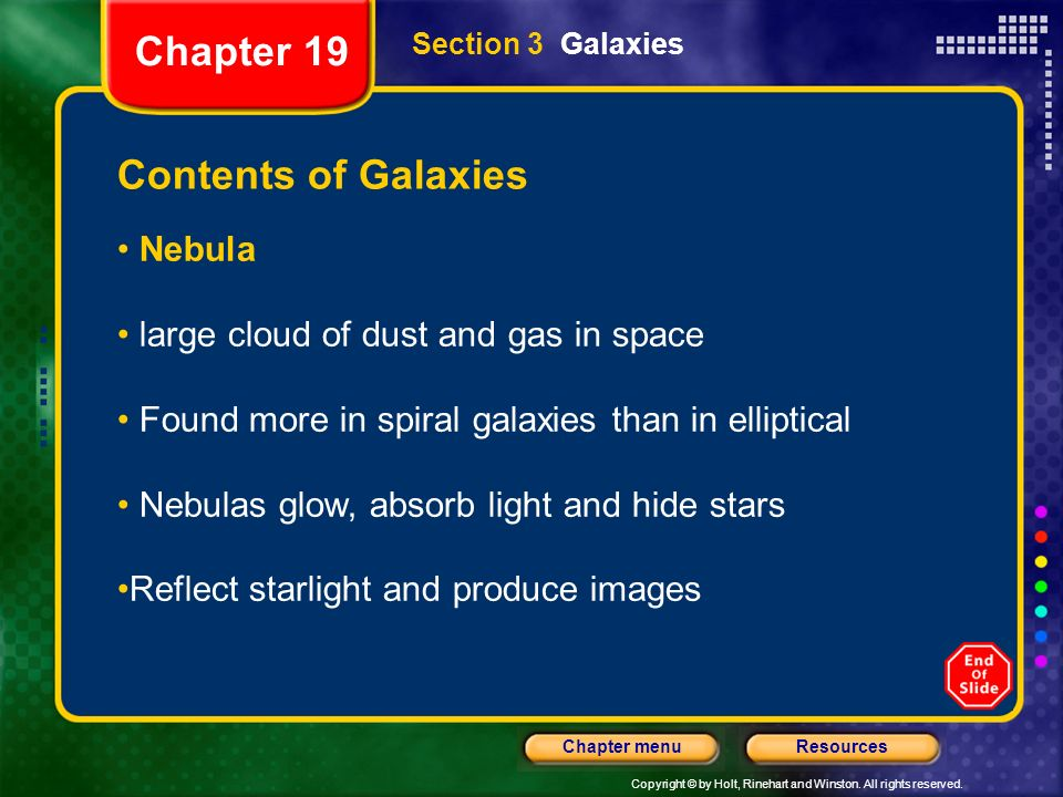 Chapter 19 Contents of Galaxies Nebula