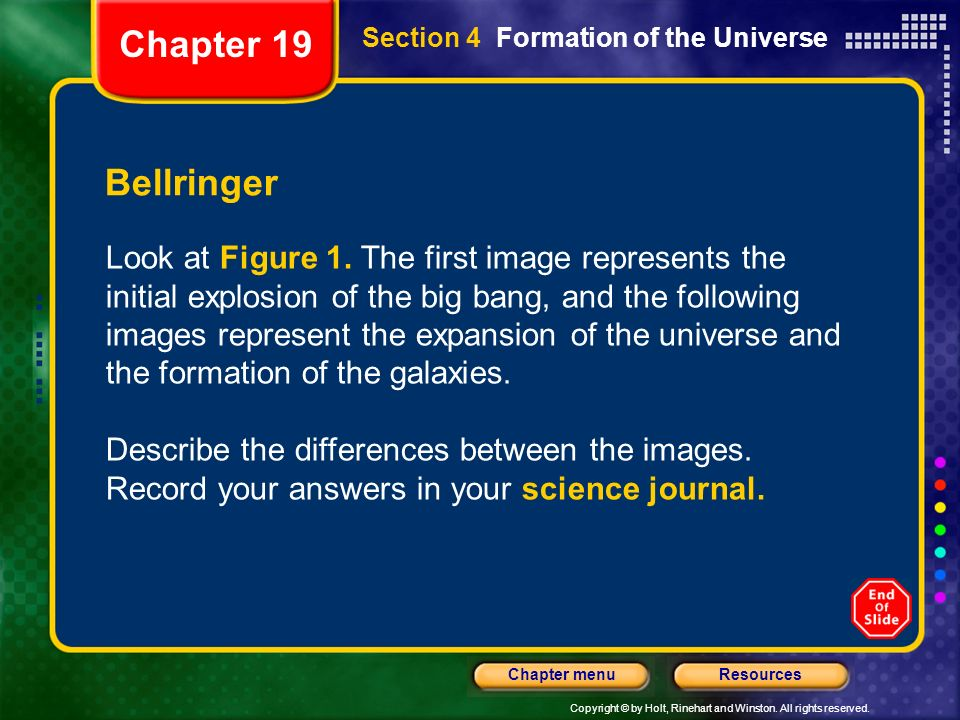 Chapter 19 Section 4 Formation of the Universe. Bellringer.