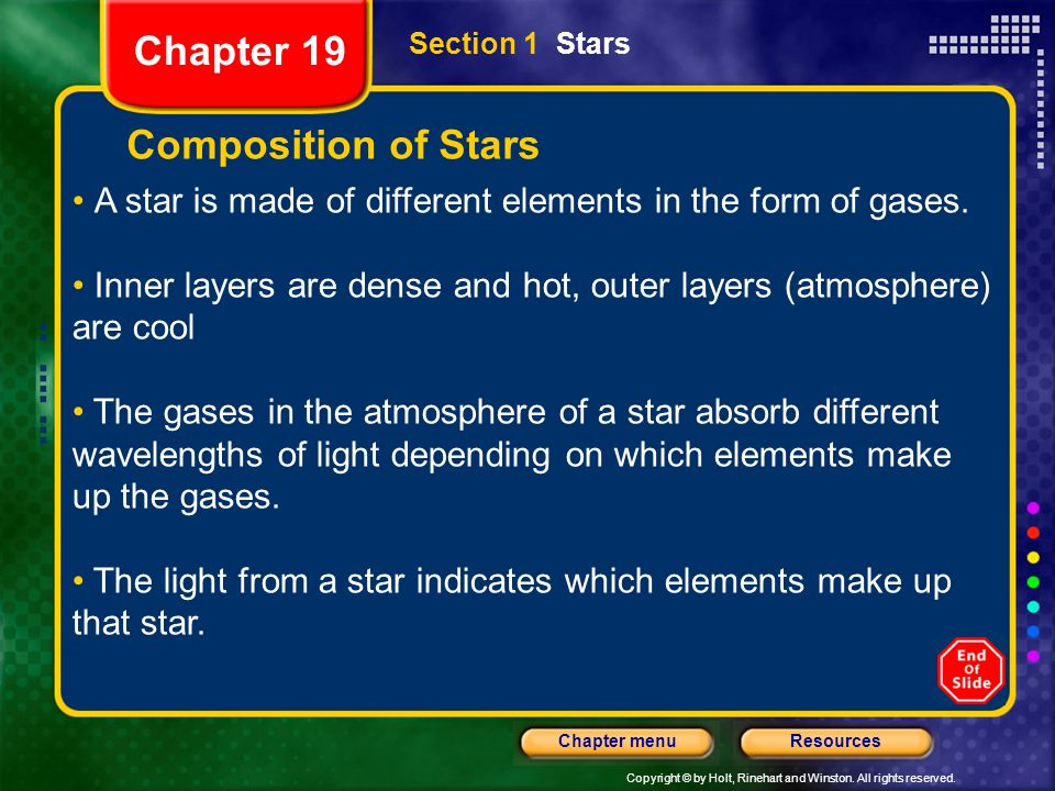 Chapter 19 Composition of Stars