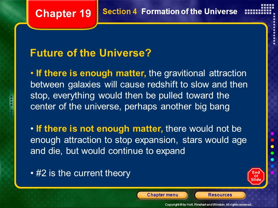 Chapter 19 Future of the Universe