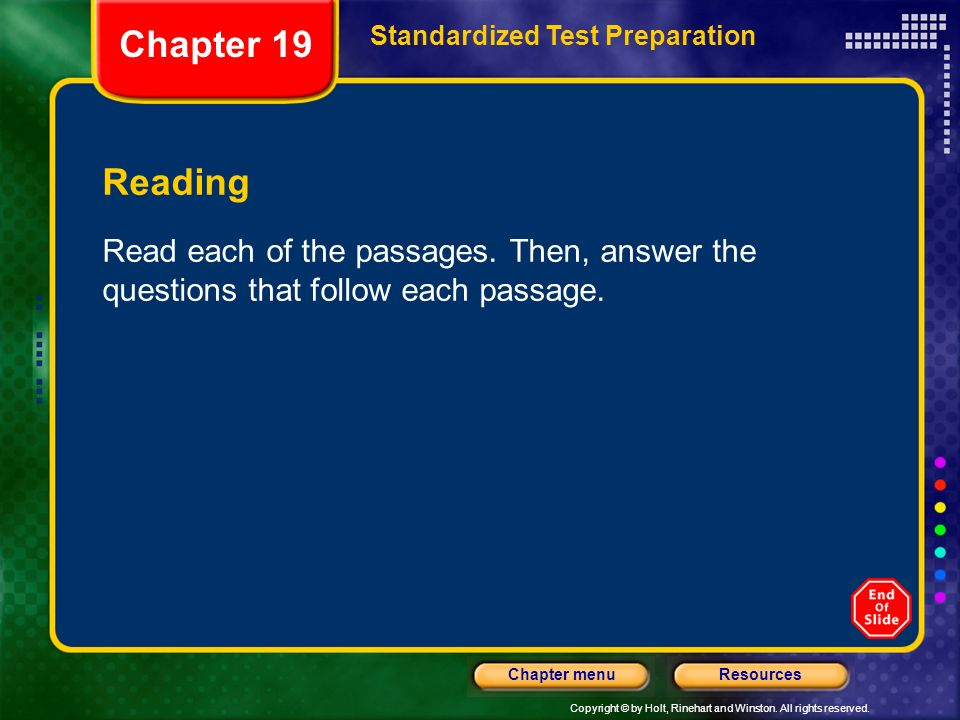 Chapter 19 Standardized Test Preparation. Reading.
