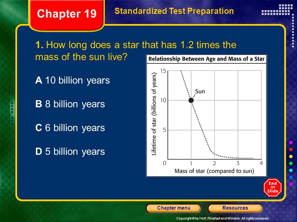Chapter 19 Standardized Test Preparation. 1. How long does a star that has 1.2 times the mass of the sun live