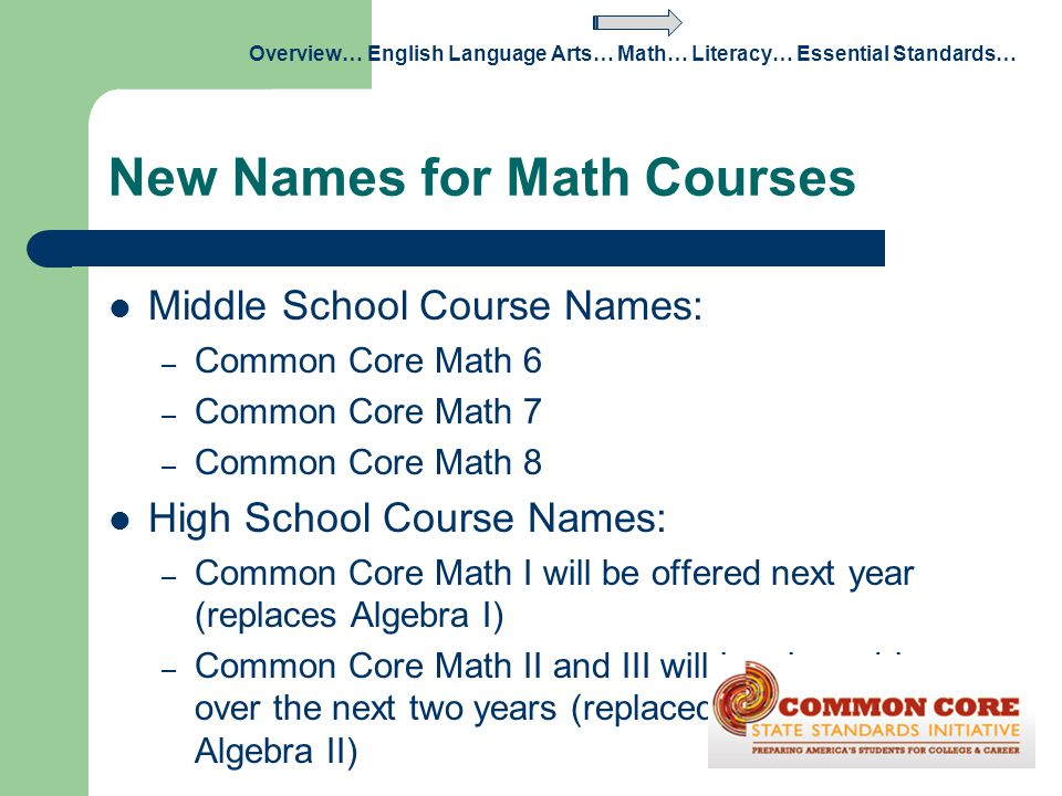 New Names for Math Courses