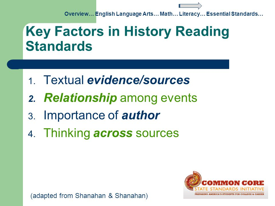 Key Factors in History Reading Standards