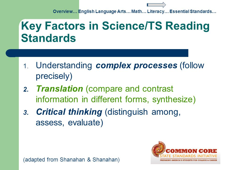 Key Factors in Science/TS Reading Standards