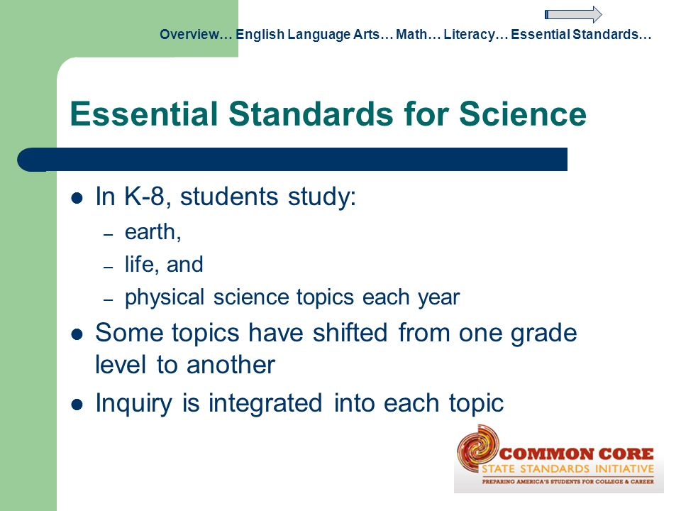 Essential Standards for Science