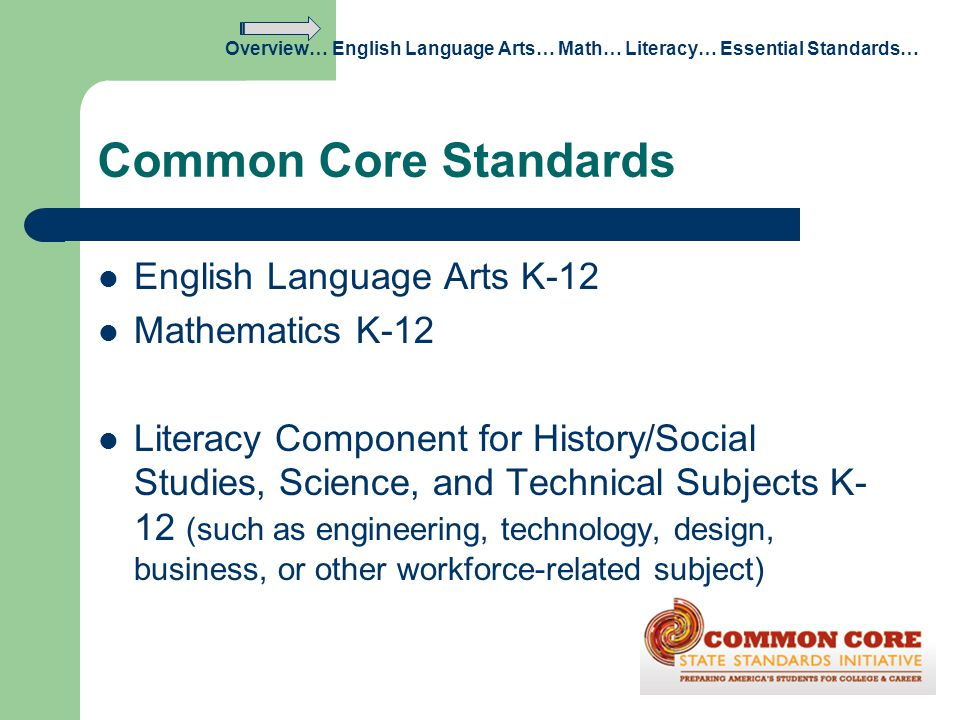 Common Core Standards English Language Arts K-12 Mathematics K-12