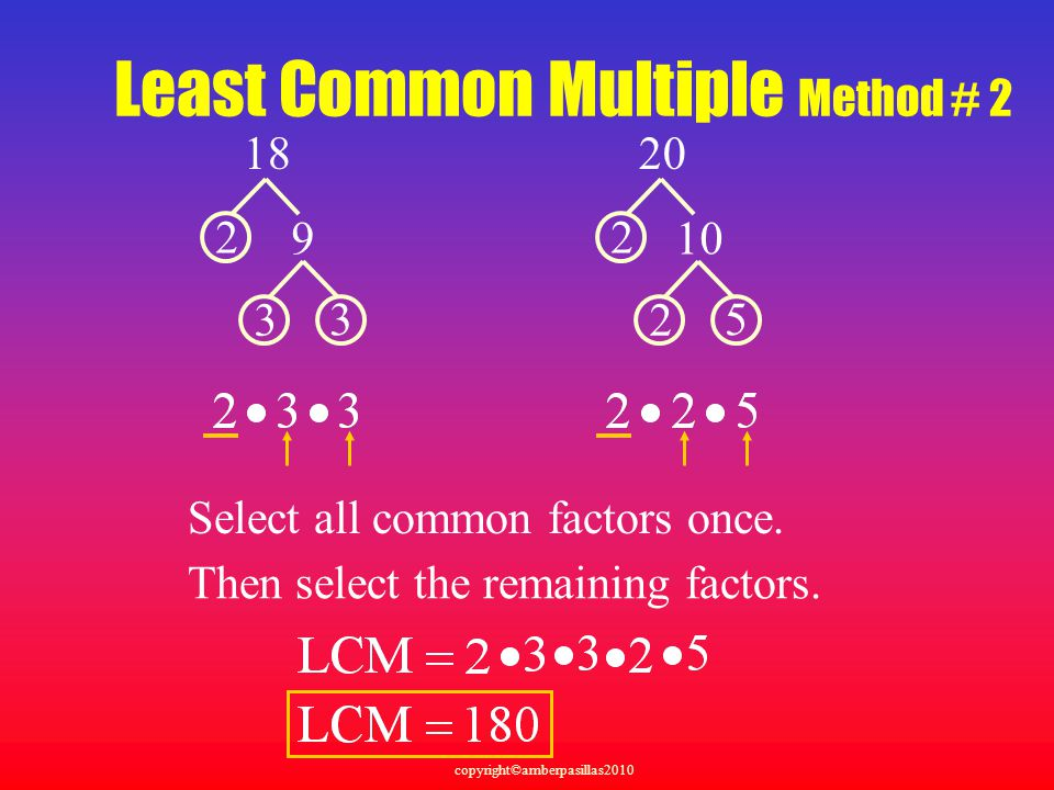 Least Common Multiple Method # 2