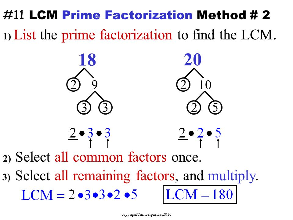 #11 LCM Prime Factorization Method # 2
