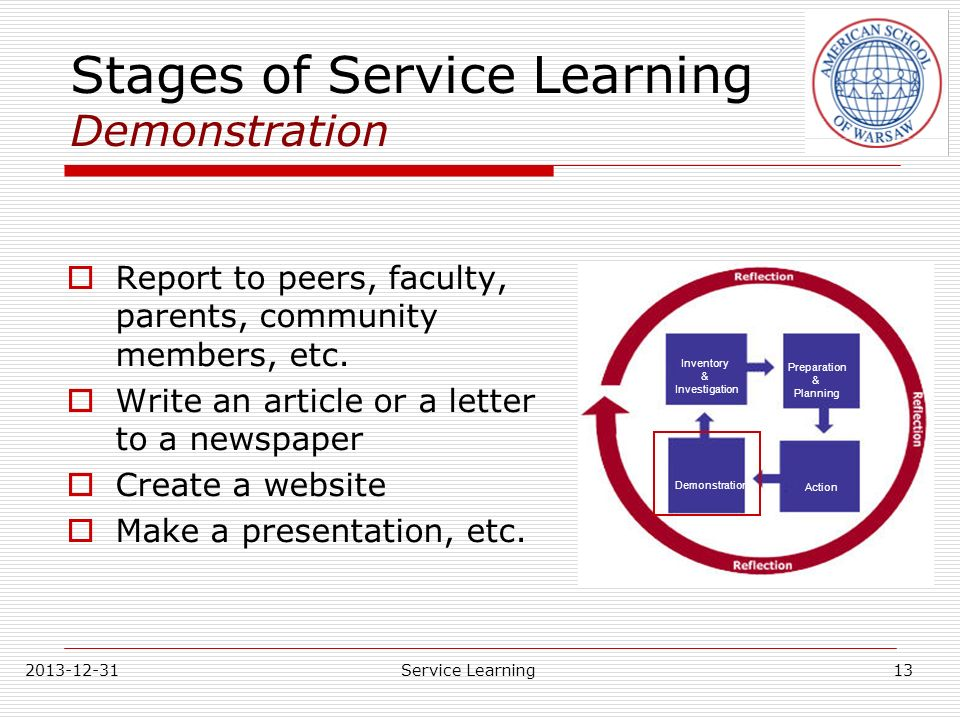 Stages of Service Learning Demonstration